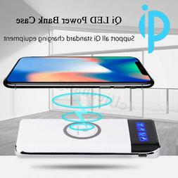 2019 New Qi Wireless Charger Power Bank 10000mAh LED LCD Ext