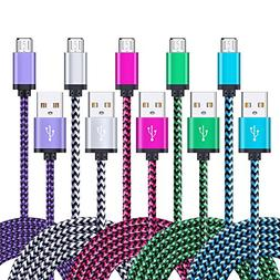 Android Charger Cable, FiveBox 5-Pack 6ft Micro USB Cable Co