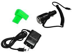2 AMP Car Charger + Wall Travel Home Charger For ZTE Blade V