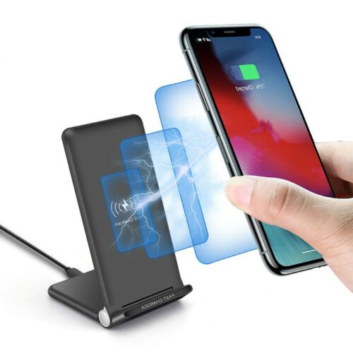 US Qi Wireless Charger Dock Pad Stand For 11 11Pro 8 XS XR