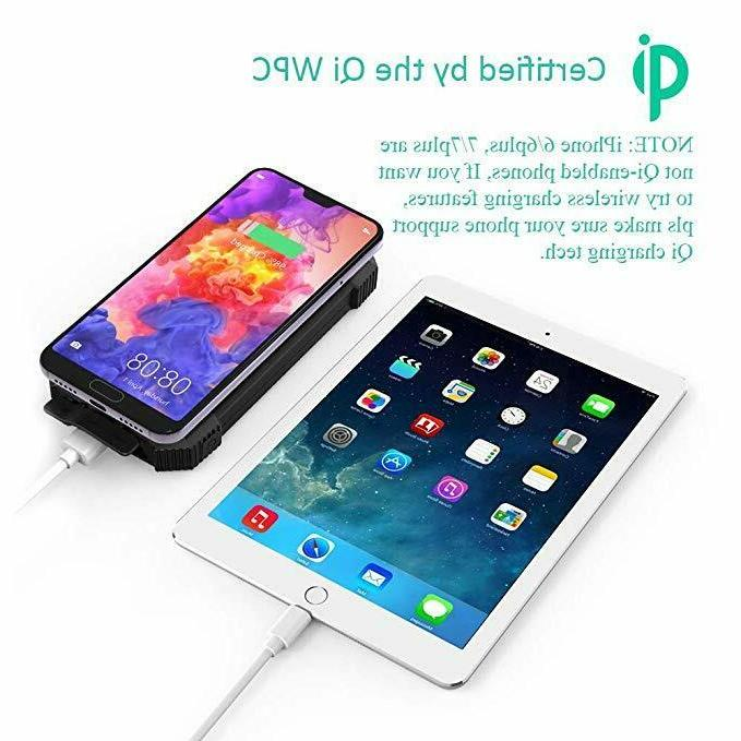 Wireless Charger, 10000mAh USB Battery Pack Back