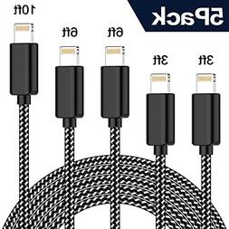TNSO MFi Certified iPhone Charger Lightning Cable 5PackExtra
