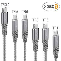 High Speed Micro USB Cable Bynccea 6 Pack 1FT 3FT 3FT 6FT 6F